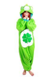 Wholesale Bear Men Costume - Green Four-leaf jumpsuit Clover Lucky Care Bear Pajamas Adult Women Men Unisex Onesie Hooded Romper Party Costumes