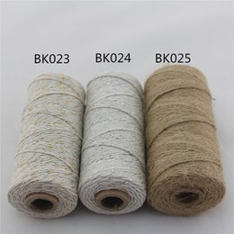 Wholesale Wholesale Twine Spools - Environmental protection free shipping Double color 100% Cotton Bakers twine wholesale Gift Wrap Party Supplies 110yard spool