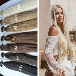 Wholesale Dark Brown Extensions Fusion Tip - 8A Fusion Pre-Bonded Flat Tip Hair Product Brazilian Straight Keratin Human Hair Extensions 300S 300G Blonde