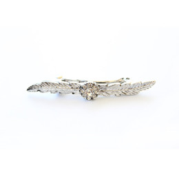 Wholesale Wholesale Gems China - Vintage leaf Barrettes for Women & girls Shining Gems Rhinestones silver plated hairpins New Fashion design Barrettes hair Jewelry for gifts