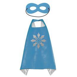 Superhero Kids Capes Camadas Duplas 70 * 70 cm de Cetim Cape Natal Trajes de Halloween Roupas Cosplay Cosplay Capes E Máscaras Trajes Do Partido de