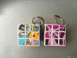 Wholesale Square Games - 3.5cm Mini Poke Pikachu Magic Cube Puzzle Keychain Magic Game magic Square key ring learning & education good Gift toys Free shipping E1564