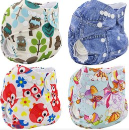 Wholesale Diapers Inserts - 47 designs Baby Diapers TPU print waterproof diaper pocket washable Buckle without inserts breathable adjustable baby diaper cloth