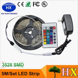 Wholesale Ir Wire - LED Strips 5M Set 3528SMD 60led LED Strip Light Waterproof 24Keys IR Remote Controller Power supply Adapter White Red RGB LED strips light