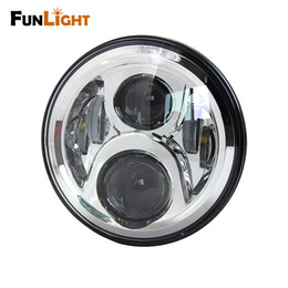 Wholesale projector low beam - 1Psc 60W 7 inch Round LED Headlight High Low Beam H4 For Harley motorcycle Chrome Projector Daymaker Led headlamp