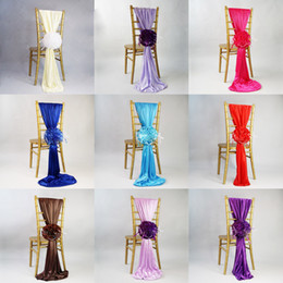 Wholesale Satin Ribbon Supplies - New Arrival Jacquard Chair Covers For Wedding Ceremony Ribbon Chair Sashes Party Banquet Decoration Satin Sash Wedding Supplies 50 Pcs Lot