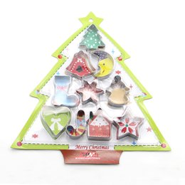 Wholesale Metal Cookie Cutter Set Christmas - 10pcs set Christmas Tree Cookies Cutter Set Cake Fondant Mold Chocolate Mousse Mould Baking Decorating Tools Navidad Party Favor