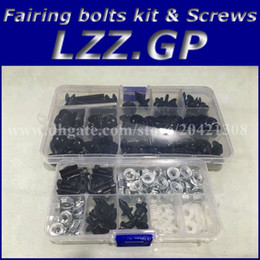 Wholesale Fairing Kits - Fairing bolts kit screws for Kawasaki NINJA ZX6R 2005 2006 ZX 6R 636 05 06 ZX-6R 05-06 fairing screw bolts Black silver