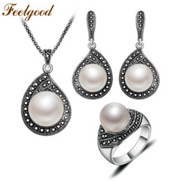 Wholesale Crystal Jewelry Sets Black - Feelgood Jewellery Vintage Silver Color Water Drop Necklace Sets Black Crystal And Imitation Pearl Jewelry Set For Women Gift
