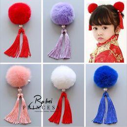 Wholesale Girls Purposes - 2017 New The wind China Vintage cheongsam rabbit hair ball children's tassels Girls Hair Pin Brooch dual purpose Children Hair Accessories