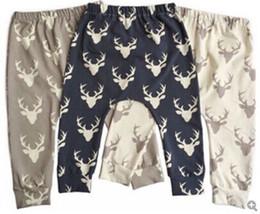 Wholesale Wholesale Black Leggings Designs - 2016 New Arrivals Ins Autumn Design Children Harem Pants Infant Baby Xmas Little Dear Print Long Pants
