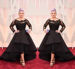 Wholesale Long Taffeta Formal Evening Dress - Black Evening Dresses Oscar Hi-Lo Lace Long Sleeve Prom Gown Excellent Taffeta Runway Fashion Show Plus Size Formal Party Evening Dress