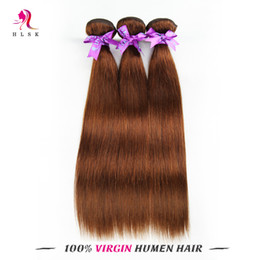 Wholesale Clearance Remy Hair - 3 Bundles Clearance Brazilain Virgin Remy Hair Extensions Color Brown Unprocessed Straight Hair Products Brazilian Remy Hair Double Weft