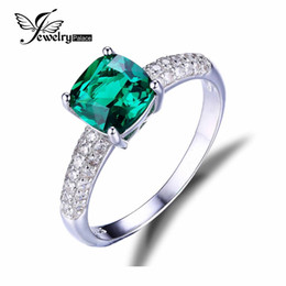 Wholesale Russian Wedding Bands - Wholesale-Nano Russian Emerald Engagement Wedding Ring Solid 925 Sterling Solid Silver Square Cut Stunning Hot Sale Luxury Jewelry