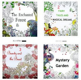 Wholesale Drawing Magic - 4 Design Secret Garden Beauty and the Beast Coloring Book Children Relieve Stress Kill Time Graffiti Painting Magic forest Drawing Book