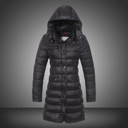Wholesale Green Hooded Womens Parka - New Long Coat For Women Puffy Duck Duvet Hooded Collar Winter Parka Ruched Button Slim Lady Parka Womens Clothing