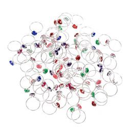 Anéis de casamento de 14mm on-line-Diâmetro interno 14mm Colorido de Cristal Banhado A Prata Anel Para Crianças Meninas Acessórios de Jóias de Casamento 50 pçs / lote Atacado