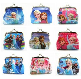 Wholesale Mini Bags Childrens - Frozen Elsa Anna Girls Kids Coins Boxes Purse Money Pouch Bag Cartoon Wallet Childrens Christmas Gift Free Shipping