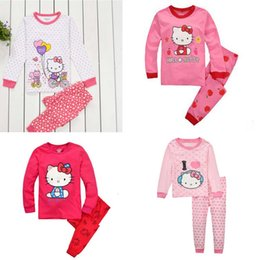 Wholesale Leopard Print For Baby Clothes - Girls Sets With Printed Hello Kitty Kids Suite Long Sleeve For The Baby Girls Children Clothing Sport Sets Two Pieces 2016 New Autumn