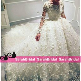 Cheap white luxury church sheer wedding dress - Luxury 3D Floral Appliqued Wedding Dresses with Long Sleeves Castle Church Princess Style Bridal Ball Gowns Tulle Beaded Arabic Brides Wear