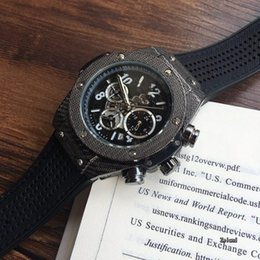 Wholesale Mens Watches Big Bang - High Quality Men Watch All Subdials Work Mechanical Automatic Wristwatches Luxury Watches Top Brand Rubber Strap Big Bang Gift for mens h001