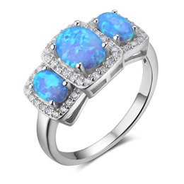 Wholesale Fire Stones - 5pcs Fashion Blue Fire Oval Opal Rings 925 Sterling Silver Rings Vintage Engagement Rings for Women