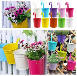 Wholesale Wholesale Metal Hanging Baskets - Charming 9 Colors Metal Iron Hanging Basket Bucket Flower Pot Hanging Balcony Planters Garden Plant Planter Home Decor E498E