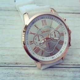 Wholesale Geneva Silicone Watches Price - 2015 New Roman Dial Silicone Geneva Watch,Hot Selling Three Eyes Dial Pink Ladies Quartz Watch Low Price