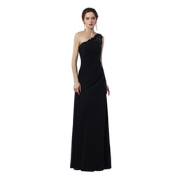 Wholesale Evening Dresses One Shoulder Flow - Real sample Custom Made Sexy One-Shoulder Cheap Long Prom Dress Flowing Chiffon With Beading Women Prom Party Gowns