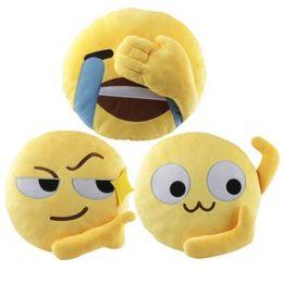 Wholesale Cute Stuffs Home - 3 Styles 35cm Cute Emoji Decorative Pillows Plush Toys Stuffed Toy Sofa Car Seat Funny Round Cushion Home Decoration Pillows CCA7391 30pcs