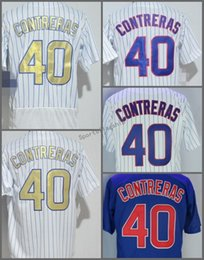 Wholesale Grey Pinstripe - 2018 Flexbase #40 Willson Contreras Home Away Baseball Jersey Blue Gray Green White Pinstripe Cool Base Stitched Jerseys