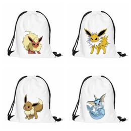 Wholesale Eevee Backpack - 3D Print Cartoon Poke Go Drawstring Backpack Cute Eevee Vaporeon Jolteon Flareon School Bags White Oxford Fabric Infantil Mochila