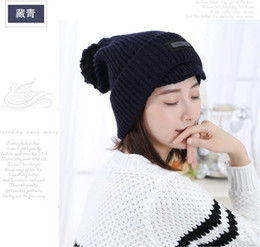 Wholesale Ear Stickers - 2016 Autumn and Winter knitting bent eaves warm wild wild ear thicker stickers wholesale hair ball caps