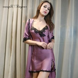 Wholesale-Top quality women nightgown robe set half sleeve lace v neck brand  clothing sleepwear set summer breathable bathrobe 4 colors ba36ac0d6