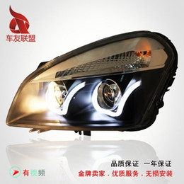 Wholesale Xenon Lenses - Nissan Qashqai Longding headlight performance lamp bifocal lens U angel eyes LED Bi xenon headlight assembly
