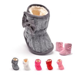 Wholesale Snow Faux Fur Wholesale - 2016 Baby Girl Knit Bowknot Faux Fleece Snow Boot Soft Sole Kids Wool Baby Shoes 6 colors