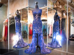 Wholesale Lace Tulle Material - Navy Blue Lace And Nude Material One Shoulder Mermaid Prom Dress Crystals High Low Beading Evening Dress Pageant Dress