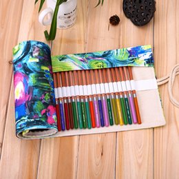 Wholesale Case Paint Brushes - Pencils Case Student Supplies Stationery Pencil Bag Handmade Painting Rectangle Canvas Writing Brush Roll Bags Gift 25 5ss C R