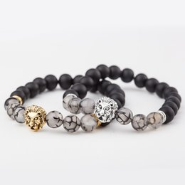 Wholesale tibet silver lion - Charm Matted Black Dragon Design Agate Stone Beads Bracelet Antique Lion Head Charms Pulseira Buddha Jewelry Free DHL D230S