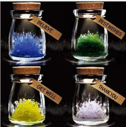 Wholesale Diy Wish Bottles - DIY Lucky Growing Crystal Special Magical Kids Magic Crystal Wishing Bottle Kit Crystal with Led Light for Toys Christmas Educationa Baby