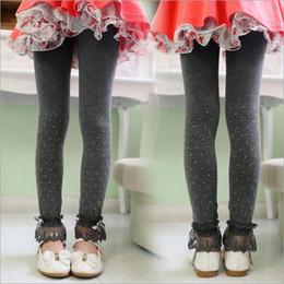 Wholesale Korean Kid S Clothes - 4 Colors Children knitting Leggings Korean style Lace nine minutes of pants Kids Leggings cotton Leggings Children clothes LA196-1