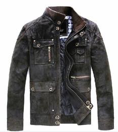 Wholesale Locomotive Fashion Genuine Leather Jacket - Fall-Free shipping ! Men brand fashion High quality pigskin genuine leather Pigskin Motorcycle Locomotive leather Jacket Coat   L-XXL
