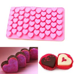 Wholesale Heart Shape Silicone Mold Chocolate - 55 holes Mini heart silicone cake mold Baking Mould Chocolate Decoration Silicone DIY Heart Shape Mold Cake EC079