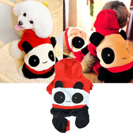 Wholesale Panda Dog Clothes - DHL Free Pet Clothes Winter Warm Dog Clothes Coat Panda Pattern Puppy Teddy Small Medium Dog Transfiguration Outfit 5 Sizes