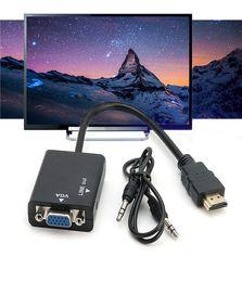 2019 hembra de 5 pines Cables hdmi HDMI macho VGA Adaptador convertidor de cable de video de audio HD 1080p PC Operación de instalación rápida Convertidores simples de alta definición