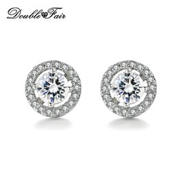 Wholesale Round Hot Plate - Hot Sale Round Imitation Crystal White Gold Plated CZ Diamond Stud Earrings For Women Wedding Jewelry DFE836