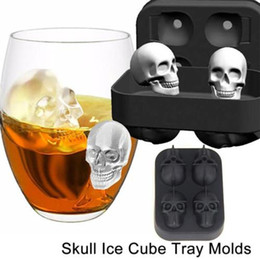 Wholesale 3d Silicone Mold Chocolate - 3D Skull Ice Cube Mold 11.3*8.1cm Silicone Chocolate Tool Candy Pastry Mould Free Shipping