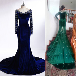 Wholesale Rhinestone Pick Up - Luxury Royal Blue Long Evening Dresses V Neck Long Sleeves Beading Crystals Rhinestone Mermaid Prom Party Gowns Custom Made Free Shipping
