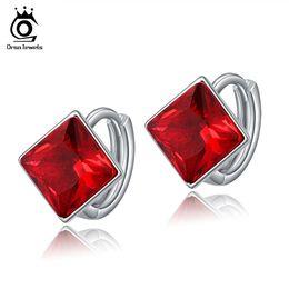 Wholesale Red Austrian Crystal Earrings - ORSA New Arrival Earring 1.25ct Princess Cut Austrian Zircon Red Crystal Earrings for Woman OE102