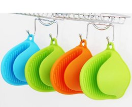 Wholesale Insulated Hot Pots - Kitchen Dishes Silicone Oven Heat Insulated Finger Glove Mitt Cute Cooking Microwave Non-slip Hot Isolation Gripper Pot Holder